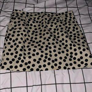 Beige and black polka dot skirt